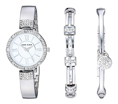 Anne Klein - Juego de reloj y pulsera para mujer con cristales Swarovski, Plateado