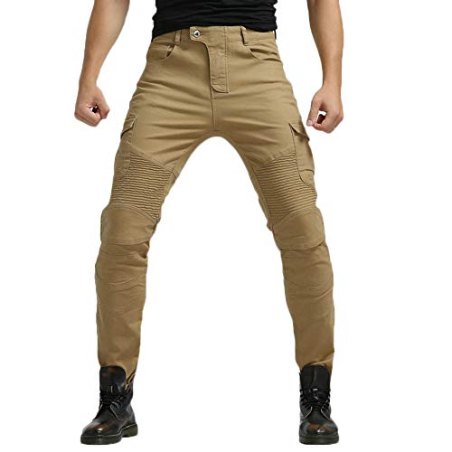 YOUCAI Hombre Motocicleta Pantalones Moto Pantalón Mezclilla Jeans con Protección Cargo Recto Pantalones de Motorista,Amarillo,S