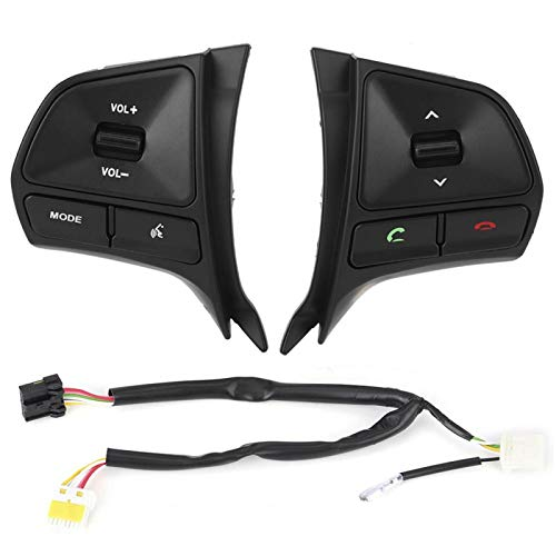 Kit de botón de interruptor de control del volante del coche Reemplazo del interruptor de volumen multimedia Bluetooth para Kia Rio MK3 2011-2014