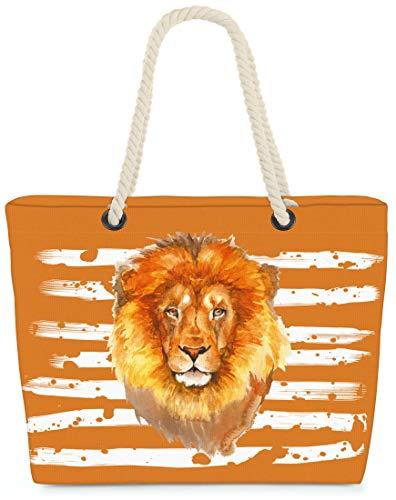 VOID XXL Strandtasche Löwe Shopper Tasche 58x38x16cm 23L Beach Bag Safari, Kissen Farbe:Orange