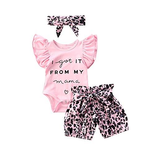 Geagodelia - Conjunto de ropa para bebé (3 piezas), diseño de leopardo Rose Léopard Manche Courte 6-9 meses