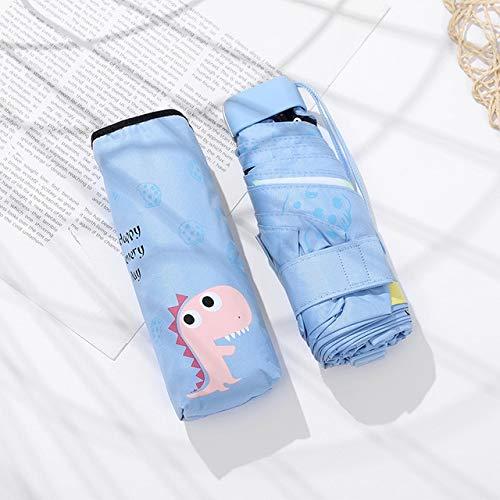MAWA Dibujos Animados pequeño príncipe Paraguas Lluvia Mujeres Paraguas Plegable Mujer soleada Parasol Lindo Mini Paraguas de Bolsillo - Dinosaurio Azul