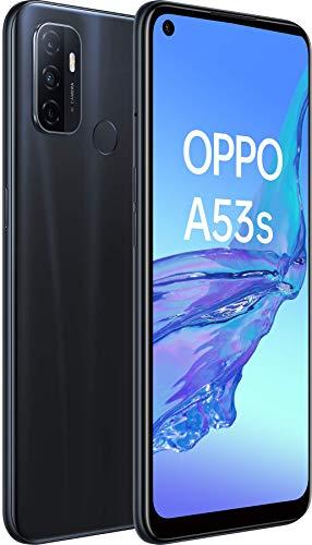 OPPO A53s Noir Océan - 128 Go - 4 Go de RAM – Écran Immersif 90Hz - Batterie 5000 mAh - Double Haut-Parleur Stéréo - Triple Caméra avec IA - USB-C - Android 10 - Smartphone débloqué 4G