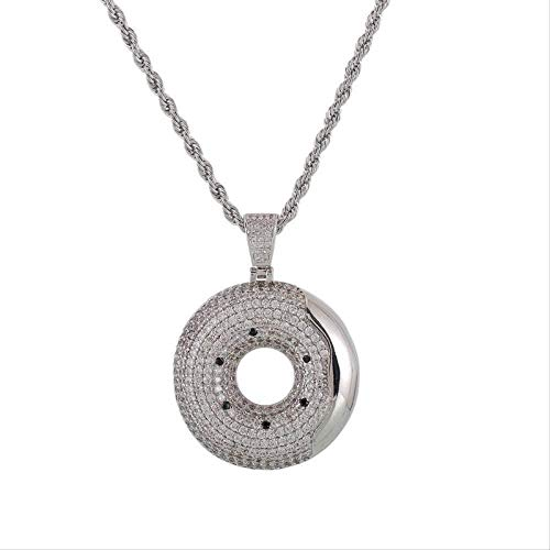 CCXXYANG Co.,ltd Necklace Hip Hop Bling Donut Pendant Necklace for Men Iced Out Cubic Zircon Jewelry with Free Rope Chain for Male 60Cm