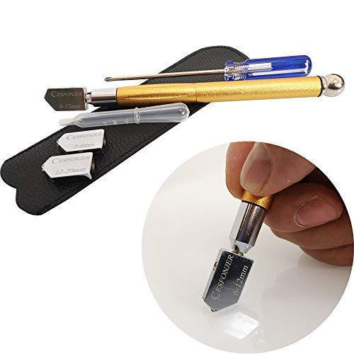 CESFONJER Glasschneider, Hartmetall Wolfram Legierung Ergonomischer Griff Design Gold Öl-Feed Cutter 3 Ersatzrädchen aus Edelstahl für dickes Glas Mosaik und Fliesen 2-6 mm 6-12 mm 12-20 mm (Goldene)