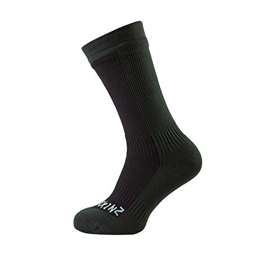Sealskinz Hiking Mid Mid Walking Socks Large Black Racing Green