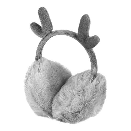IPENNY Ohrenwärmer Ohrenschützer Warme Winter Faltbare Verstellbar Plüsch Ohrenschützer Kälteschutz Cartoon Geweih Weihnachten für Frauen Mädchen