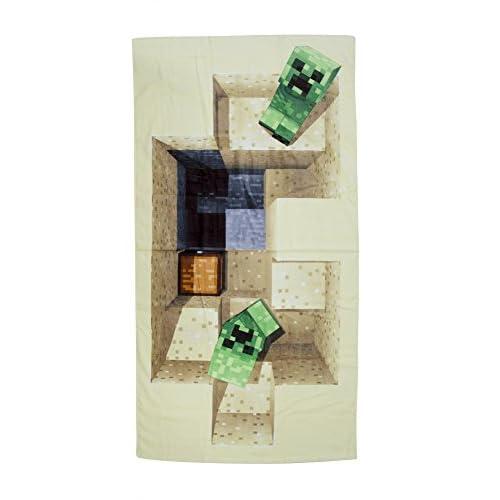 Minecraft telo con fantasia, in cotone, beige, 140x 70x 2cm
