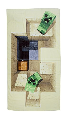 Minecraft Defeat Design, handdoek, katoen, beige, 140 x 70 x 2 cm