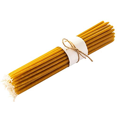 Meden 100% Pure Beeswax Church Candles - Height 22cm (Yellow) - Handmade, Dipper Tapered (50 Pcs - 230g)