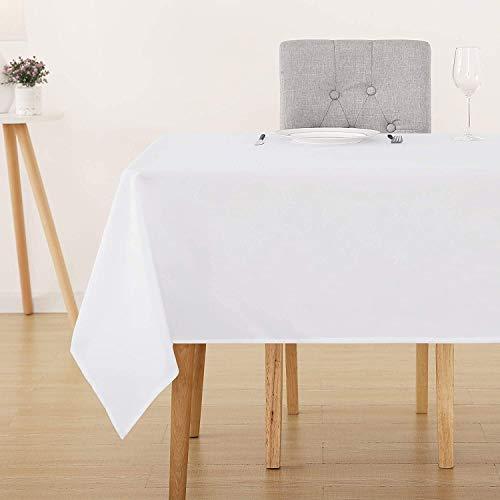 Deconovo Tischdecke Wasserabweisend Tischwäsche Lotuseffekt Tischtücher 130x280 cm Weiß