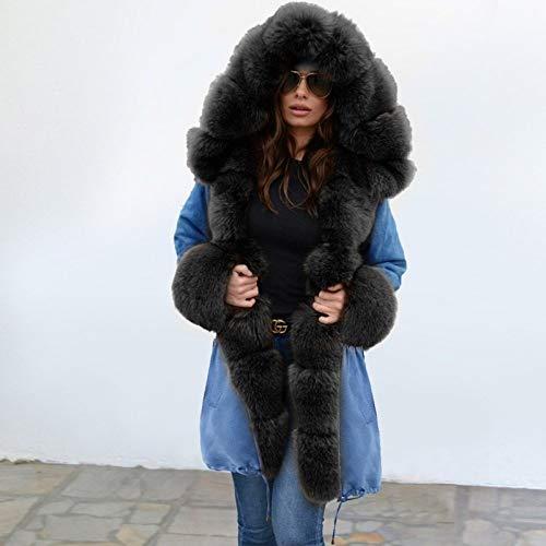 DPKDBN Dames bontvoering mantel dames winter warme dikke lange vrijetijdsjas in de vrije natuur met capuchon parka vrouwelijke mantel wwz23
