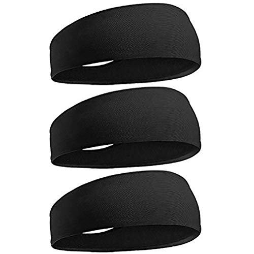 kuou 3 Pcs Sweat Bands Headbands Sweat Wicking Headbands Breathable Non Slip Black Hairbands for Yoga Running Sport Tennis