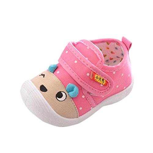 Zapatos de Bebé Yesmile Niños Bebés Niños Niñas Dibujos Animados Anti-Slip Zapatos Suela Suave Chirriantes Zapatillas (CN:16(Age:6M), Rosado B)