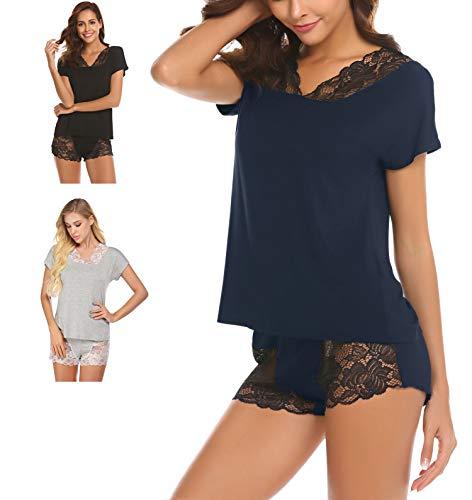 Damen Nachtwäsche Pyjama Shorty Zweiteiliger Schlafanzug mit Spitzen Kurzarm Shorts Negligee Sexy/Süß für Sommer Frauen Mädchen