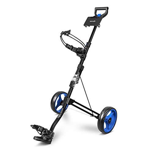SereneLife 2 Wheel Golf Push Cart - Lightweight Folding Walking Push Cart Roller Golf Bag Holder Upper/Lower Bracket w/Elastic Strap, Bag Storage Holder SLGZX3