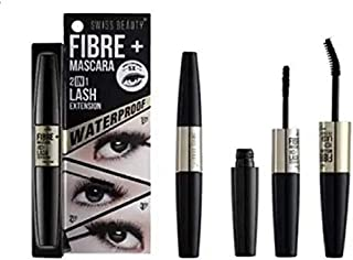 Swiss Beauty Waterproof Fibre Mascara 2 In 1 Lash Extension - For 5X More Length Volume Of Eyelashes