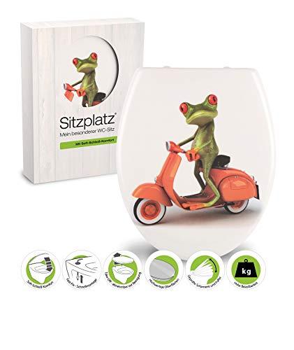 SITZPLATZ® WC-Sitz mit Absenkautomatik, Tier Dekor Frosch, antibakterieller Duroplast Toilettendeckel, abnehmbar dank Take-Off Funktion, Fast-Fix Schnellbefestigung, Standard O Form oval, 40320 7