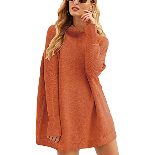 Hot Fashion Women's Casual Long-Sleeved Loose Sweater Autumn Solid Color High Collar Pullover Knitwear
