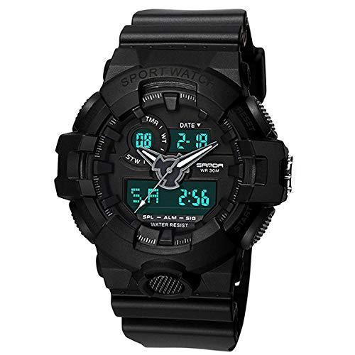 SANDA Reloj Mujer,Nuevo Reloj Deportivo electrónico Impermeable Multifuncional al Aire Libre Reloj Deportivo Comercio electrónico-Negro