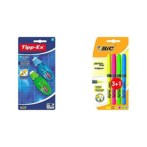 Bic Tipp-Ex Cinta correctora + Highlighter Grip Marcadores punta biselada Ajustable colores Surtidos, Blíster de 3+1