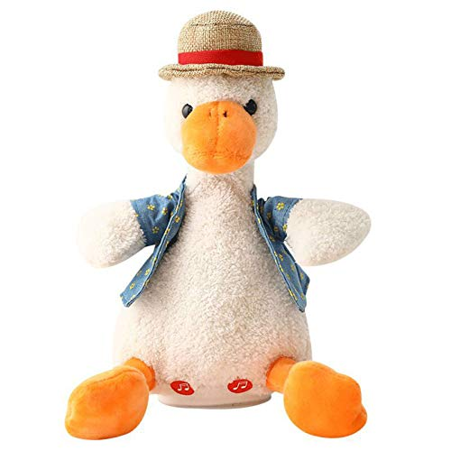Talking Duck Plush Toys, Lucakuins Talking Duck Toy, Interactive Animated Stuffed Plush Animal Toy, Will Repeat Singing and Recording and Nod