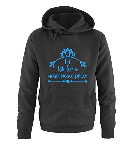 Comedy Shirts I'd Kill for a nobel Peace Prize - Sweat à capuche pour homme - Capuche kangourou à manches longues - Noir - S