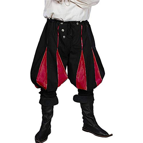 Vertvie Herren Wikinger Hose Piratenhose Mittelalter Retro Lang Schnelltrockend Baumwolle Herrenhose (EU XL/Tag 2XL, B-Rot)