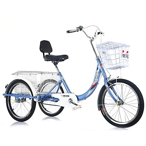 Bicicleta de 3 ruedas para adultos, frenos delanteros y traseros, cesta delantera y trasera, sillín ajustable y horquilla delantera amortiguadora.