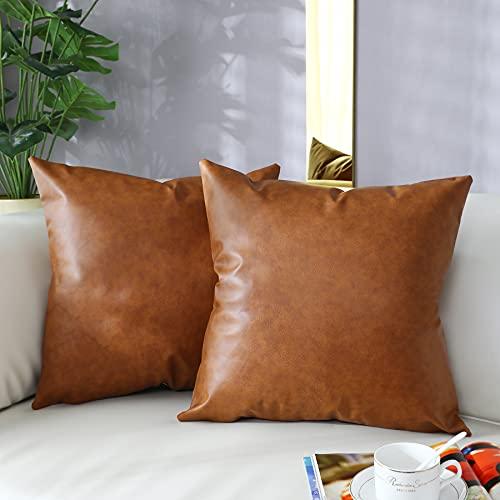 Fodere per cuscino da tiro 45x45 pollici Set di 2, fodera per cuscino in ecopelle con accento 18x18 pollici, federa moderna in stile rustico country per camera da letto divano del soggiorno cuscini