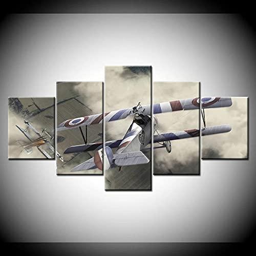 HAOQIPA Cuadro En Lienzo 5 Piezas Set CuadrosDos Aviones De BatallaCuadro sobre Lienzo Cara De No Tejido Impresión En Lienzo Decoracion Pared Regalo Creativo/150x80CM