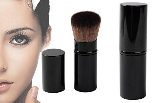 Takestop® Intrekbare blush kwast van staal voor zachte minerale make-up, poeder, blush of zonneaarde, ideaal voor handtas, kleur willekeurig