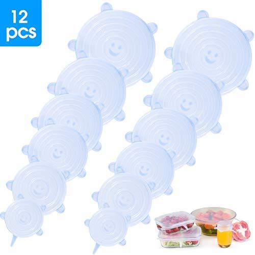 Elásticas Tapas-de-Silicona Reutilizable-Ajustables Fundas para Alimentos-Protectoras - para varios recipientes, Lavavajillas, horno microondas, congelador, libre de BPA (12 Packs)