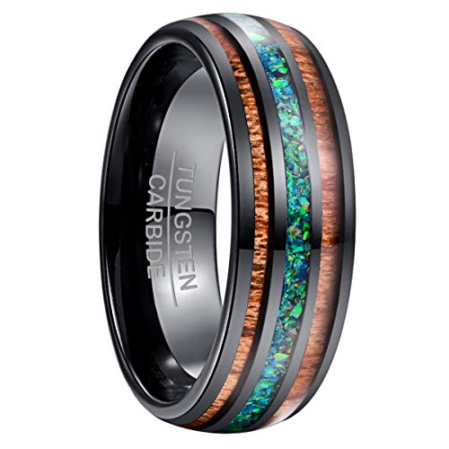 NUNCAD Marine Opal Tungsten Wedding Ring with Hawaiian Koa Wood Inlay Domed Black Hawaiian Ring Size 9