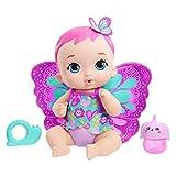 MyGardenBaby poupon bébé papillon boit et fait pipi 30 cm rose avec couche, vêtements et ailes amovibles, poupée pour enfant dès 3ans, GYP10