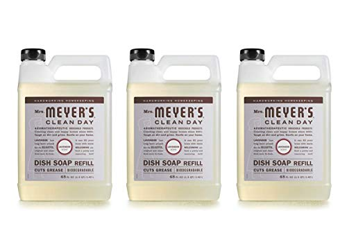 Mrs. Meyer's Clean Day Liquid Dish Soap Refill, Lavender, 48 Ounce (3 Pack)