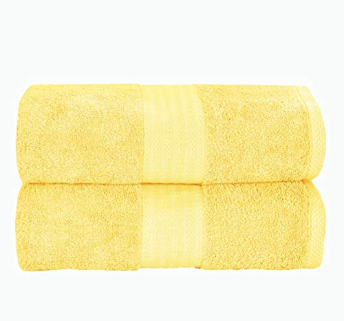 GLAMBURG Premium Cotton Oversized 2 Pack Bath Sheet 35x70-100% Pure Cotton - Ideal for Everyday use - Ultra Soft & Highly Absorbent - Machine Washable - Yellow