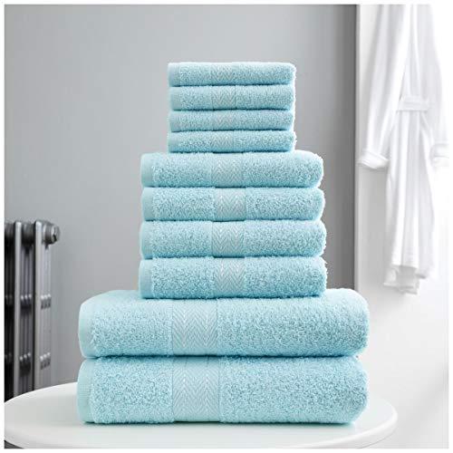 Gaveno Cavailia Towel Bale Toronto Handtuch-Set, luxuriös, hochwertig, pflegeleicht, super weich und gemütlich, 10 Stück, 100{72c744d6fb8acdc2f74e7288172926eb221ac1caeb57425e1929cb27c1a33409} Baumwolle, Aqua