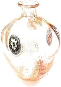 Botella de la colección de cristal de Murano Murrina con hoja de oro, fabricada en Italia (corazón rosa, diámetro de 7 cm y altura de 9 cm)