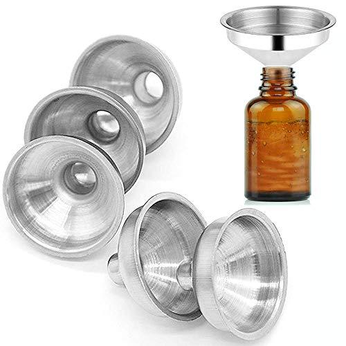Coolrunner 6 Pack Stainless Steel Mini Funnels for Miniature Bottles, Essential Oil Bottles, Amber Bottles, Flasks, DIY Lipbalms, Cooking Spices Liquids, Homemade Make-Up Fillers