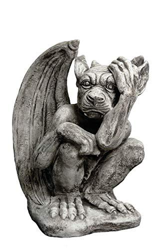 gartendekoparadies.de Große Massive Steinfigur Gargoyle - Der Nachdenkliche aus Steinguss frostfest