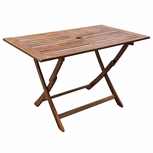 Festnight Mesa de jardín | Mesa de Comedor Rectangular Madera de Acacia Mesita de Café Exterior Plegable 120x70x75 cm terraza Patio
