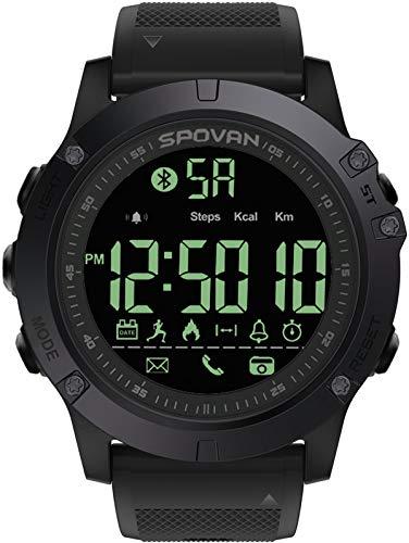 Smartwatch da uomo, 5 ATM, impermeabile, IP68, pedometro, fotocamera, Bluetooth, fitness, tracker sportivo, iOS, compatibile con Android