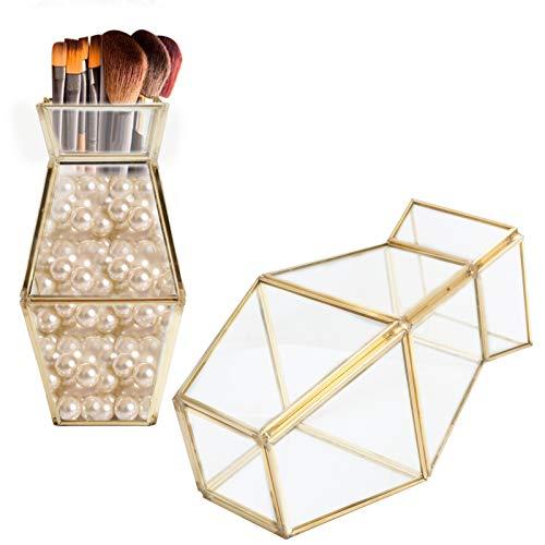 Soporte geométrico de vidrio, recipiente de vidrio Flowe Pot en forma de jarrón para bolígrafo cosmético para almacenamiento de cosméticos para bolígrafo de oficina