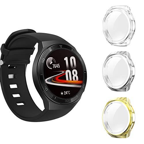 Seltureone - Juego de 3 carcasas para Huawei Watch GT 2e con protector de pantalla de TPU, flexible, protección completa de arañazos y parachoques, color negro, plata, gris, oro rosa