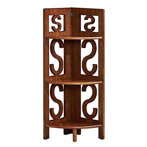 CXHMY 3-stöckiges Regal, Eckregal mit Holzverkleidung, multifunktionales Bodenregal, 31 x 31 x 92 cm, Weiß/Nussbaum, Geeignet für Wohnzimmer, Schlafzimmer, Arbeitszimmer, Balkon (Farbe: Nussbaum