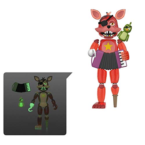 Funko- Action Figure: Friday Night at Freddy'S Pizza Sim-Rockstar Foxy-Glow in The Dark Translucent Collectible Toy, Multicolor (45638)