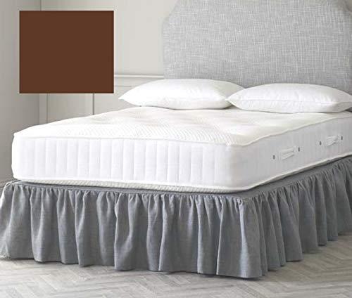 Bettvolant für Einzelbett, gerüscht, 91,4 x 190,5 cm, Braun