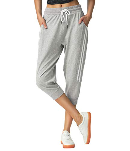 SPECIALMAGIC Sports Capri for Women Sweatpants Cropped Yoga Pants Running Joggers for Gym Daily Light Grey L