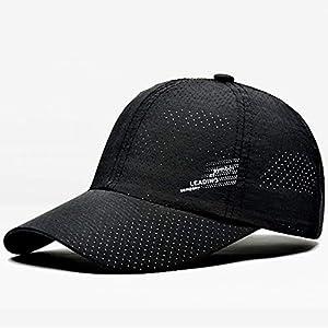 メンズゴルフ帽子 クイック乾燥屋外スポーツバイザーランニングキャップ通気性綿の折りたたみ式の調節可能なカジュアルなカジュアルな太陽の野球帽子 男女兼用 (Color : Black, Size : 56-60cm)